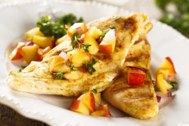 Chicken with peach and melon salsa recipe