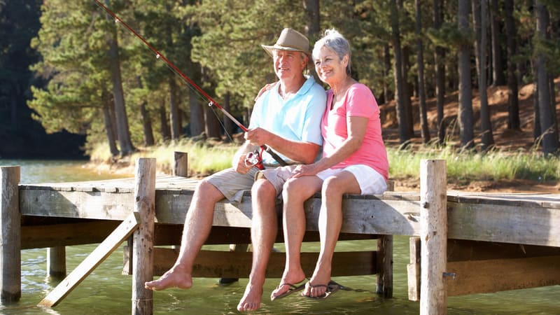 Senior couple found fishing as a hobby