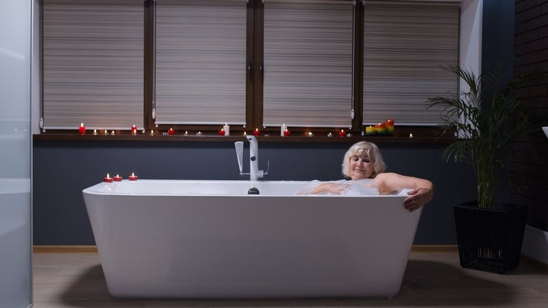 Woman enjoying home spa day activities for seniors