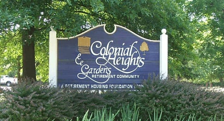 Colonial Heights and Gardens Sign