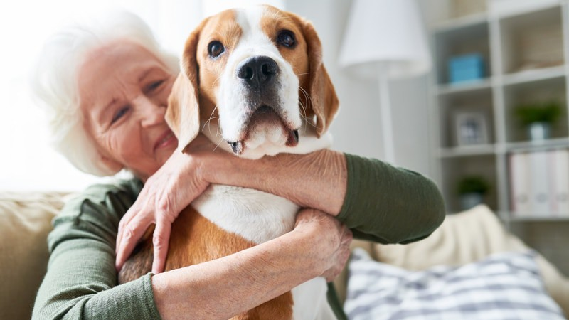 Senior woman enjoying one of the many reasons for seniors to have a pet