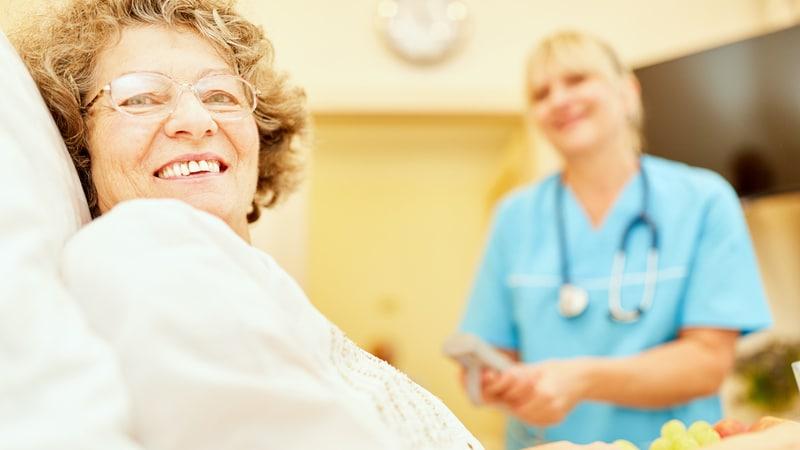 Senior woman at an assisted living facility in North Carolina