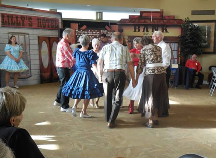 Residents dancing