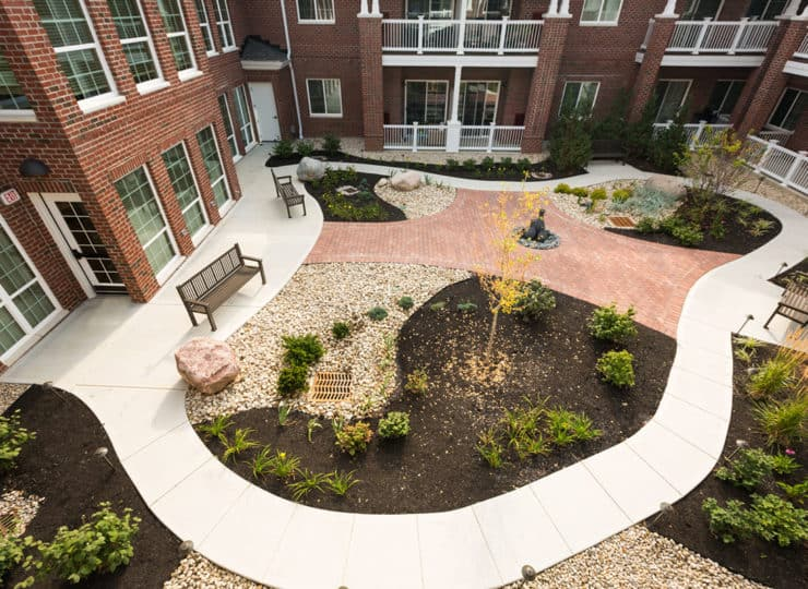 Three Creeks Senior Living Courtyard