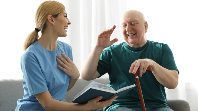 Parent is cared for in assisted living by his nurse