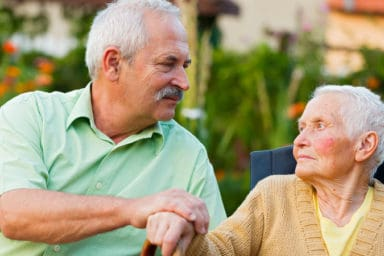 Man caring for his aging parent