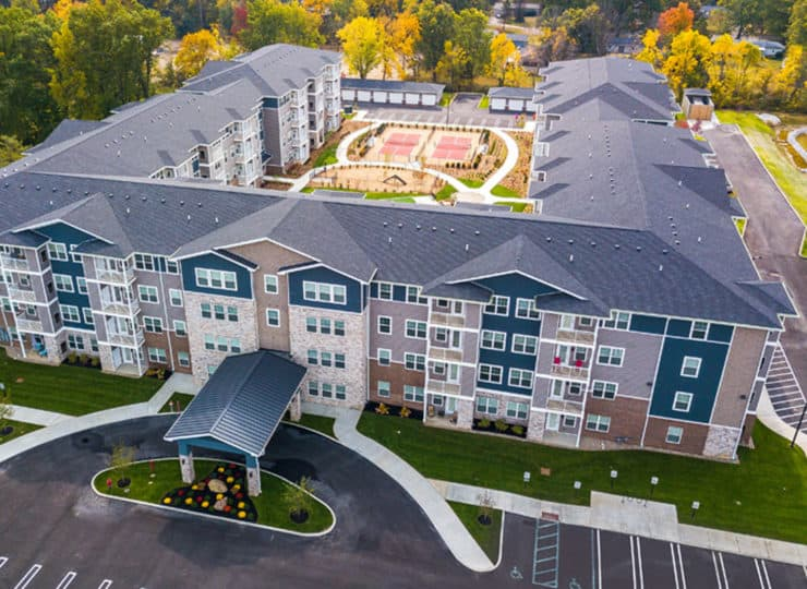 Encore Apartments aerial view