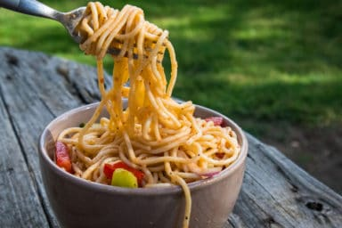 Pasta salad at a picnic