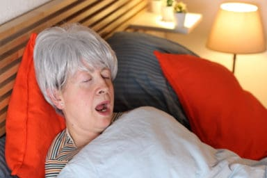 Hilarious senior woman has sleep apnea