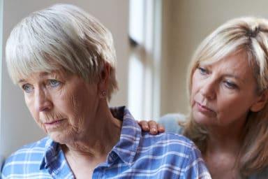 Woman suffering from delirium in seniors