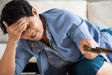 Woman having a hard time avoiding falls