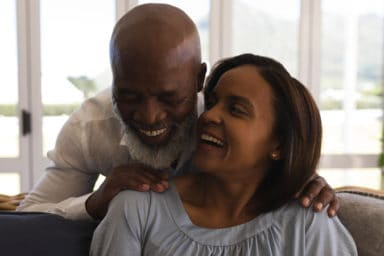 Senior couple so happy they decided to join a senior living community