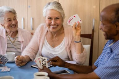 Some gambling seniors enjoying their senior living options