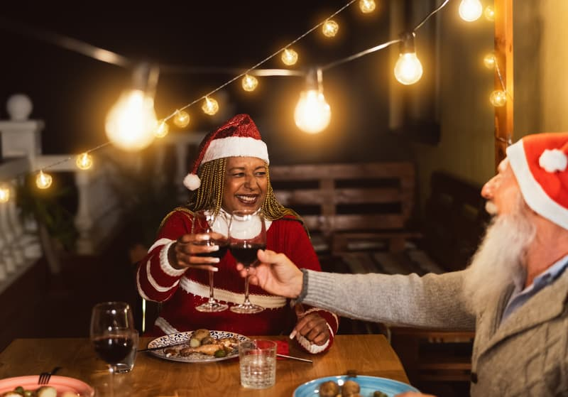 Seniors getting drunk on Christmas while enjoying holiday eating with diabetes