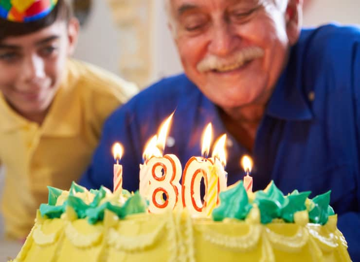 Duke Clinical Research Institute Elderly Man Celebrating Birthday with Cake