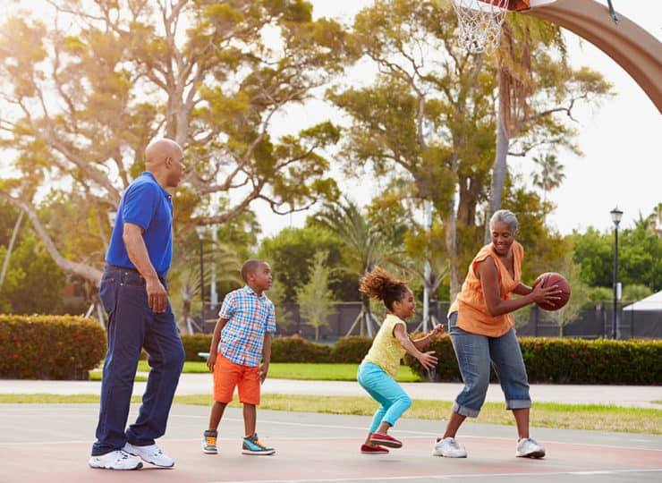 Duke Clinical Research Institute Family Playing Basketball