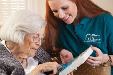 Right at Home Caregiver with Elderly Lady