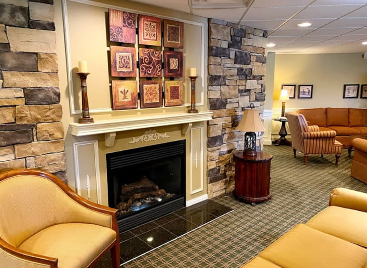 The Wellington at North Bend Crossing Community Room with Fireplace