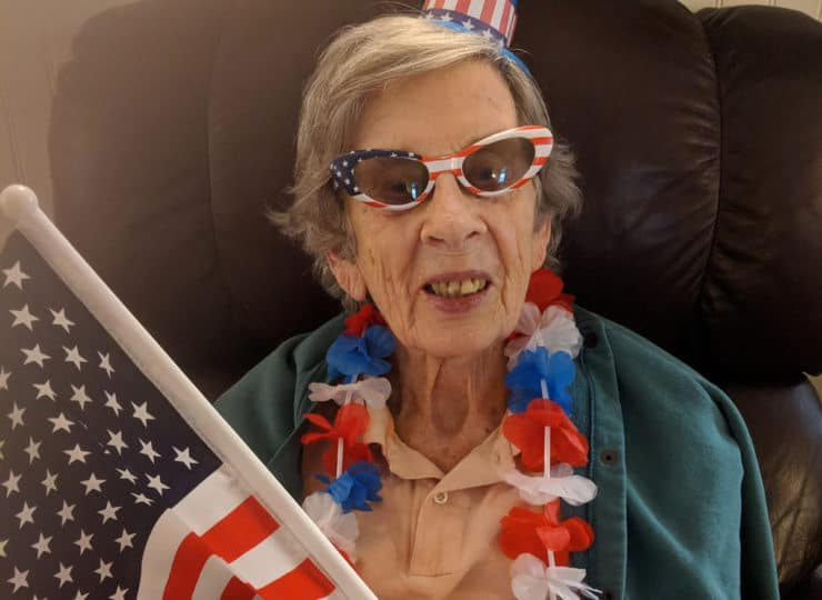 Lynns Care Homes Elderly Lady Celebrating Fourth of July