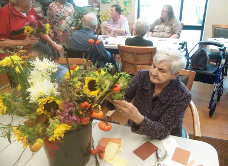 Lynns Care Homes Elderly Lady Working on Flowers