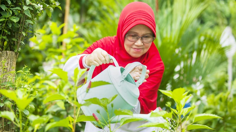 Woman watering the best edible plants to grow