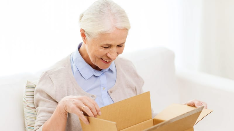 Care package ideas for elderly include this box full of goodies