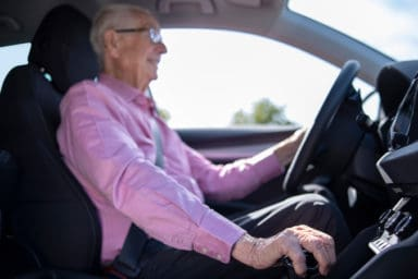 Man following the safe driving tips for seniors