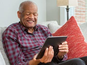 Brookdale Senior Living Senior Man on Tablet