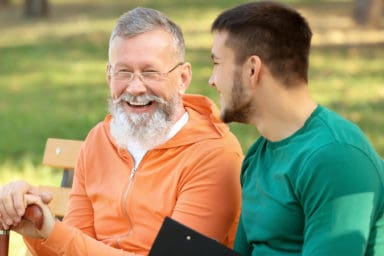 Multigenerational friendships between old man and young man