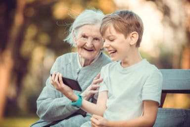 Great-grandparent with her great-grandson