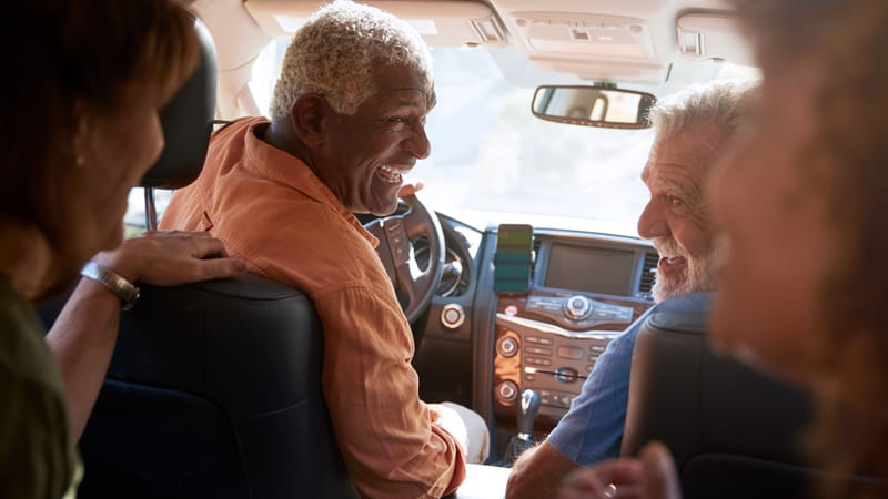Group of friend using the best road accessories for seniors