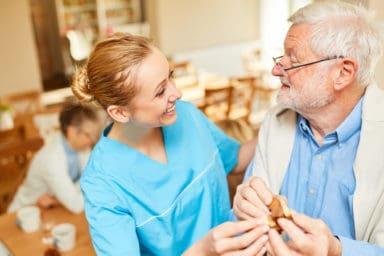 Nurse using improv for dementia patient