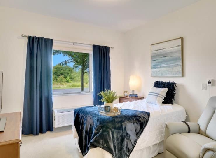 Rittenhouse Village at Valparaiso memory care bedroom